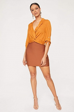 See Stretch Bandage Mini Skirt in Coffee