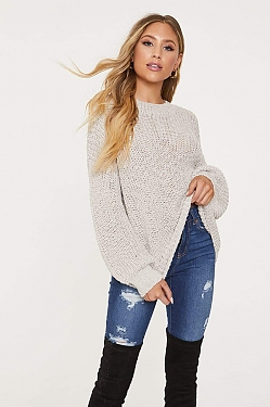 See Knit Slouchy Sweater in Taupe
