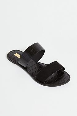 See Black Croco Two Strap Mule Slide in Black