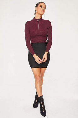 See O-Ring Half Zip Ribbed Knit Long Sleeve Top in Wine