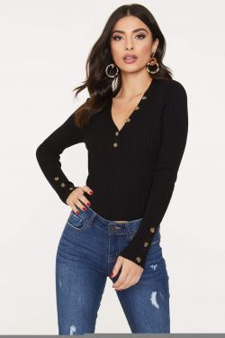 See Ribbed Knit Long Sleeve Top with Contrast Button Detail in Black