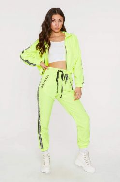 See Sporty Track Pants in Neon Lime