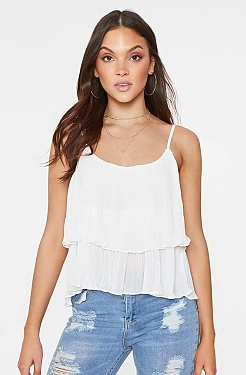 See Tiered Pleated Flounce Tank in Off White in Off White