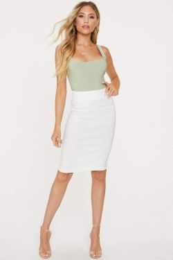 See High Waisted With Back Split Pencil Skirt in White