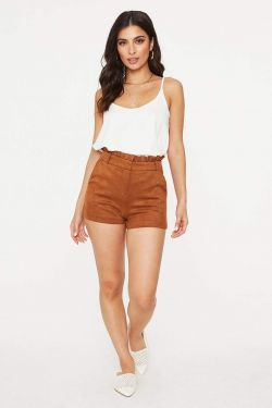See Ruffle Waist Suede Short in Cognac