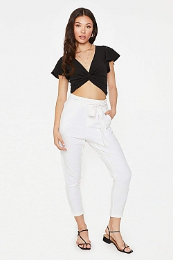 See High Waisted Tied Linen Pant in Khaki in White