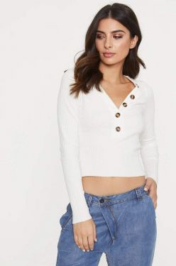 See Cropped Long Sleeve Top With Button Detail in Soft White