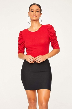 See Ruched Cascade Sleeve Knit Blouse in Red