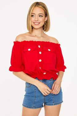 See Elastic Trimmed Off The Shoulder Top in Red
